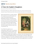 A Voice for Sophie's Daughters